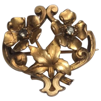 French 18 K FIX gold fill  flower brooch