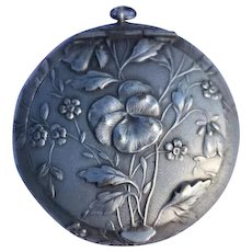 Art Nouveau silver plated Powder box pendant Forget me not flowers