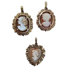 3 French FIX gold filled cameo pendants