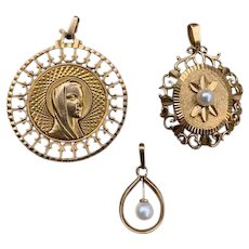 3 French FIX gold filled pendants