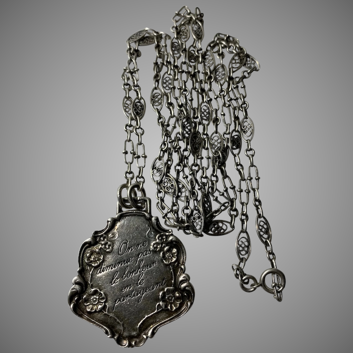 French Antique 800 900 Silver Filigree Guard Muff Chain With A Pendant Of Love Message