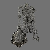 French Antique 800-900 silver filigree guard muff chain with a pendant of love message