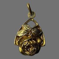 French Art Nouveau 18 K gold fill  flower pendant ORIA