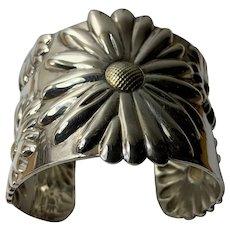Tiffany Sterling Silver and 18 K Gold Daisy Cuff Bracelet