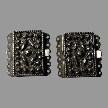 two Antique Cut Steel clasp