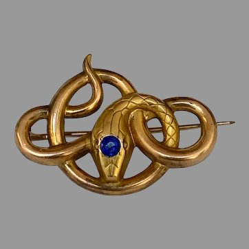 French Art Nouveau FIX gold fill snake brooch