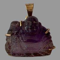 Vintage 14 K yellow Gold amethyst Buddha Charm Pendant