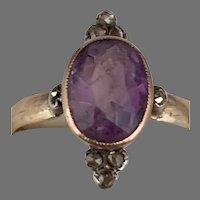 Antique 14 K gold Sterling Amethyst Rose cut Diamonds Ring