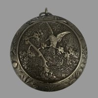 Fabulous Swiss Art Nouveau silver bird box locket or compact HUGUENIN