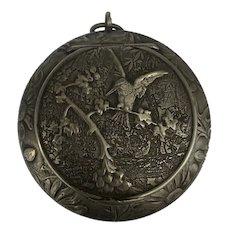 Fabulous Swiss Art Nouveau silver bird box locket or compact HUGUENIN