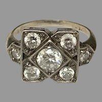 Art Deco paste diamonds silver Ring Circa 1920