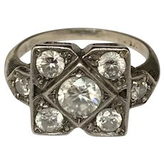 Art Deco paste diamonds silver Ring Circa 1920