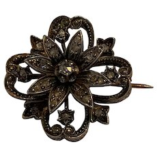 Antique Georgian French rose cut diamond Daisy  brooch set in silver and 18 K gold