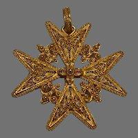 Large Antique 18 K gold Maltese Cross Filigree Pendant