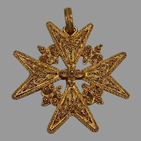 Large Antique 18 K gold Maltese Cross Filigree Pendant