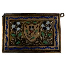 Antique gold filled and enamel large  clasp charm circa 1820