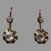 French Antique 18 K Gold and white saphir moving drop earrings dormeuses