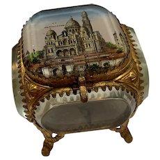 Antique French Paris Montmartre glass and ormolu jewelry casket