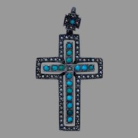 Antique French 800-900 silver turquoise seed pearls large cross pendant