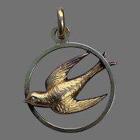 French Art Nouveau 18 K gold filled FIX swallow pendant charm