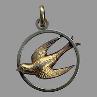 French Art Nouveau 18 K gold filled FIX swallow pendant charm