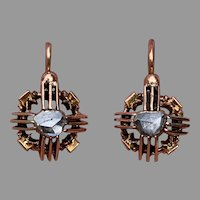 Antique French Napoleon III Dormeuses Earrings 18 K Gold cut diamond c 1860