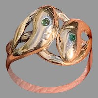 Antique French double snake 18 K gold green tanzanite ring