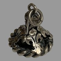 Antique French silver 800-900 fleur de lis seal fob pendant  Francois 1er