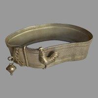 Antique French  silver Mesh Bracelet  Slide Belt rooster