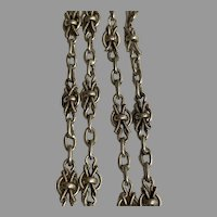 Antique French 800-900 silver 56  inch knot link guard chain for muff or lorgnette