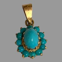 Vintage 18 k Gold Turquoise Cabochon pendant