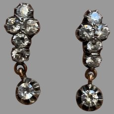 Antique Victorian silver gold Paste Drop Earrings
