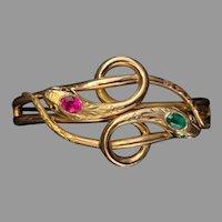 Antique Victorian 18 K gold  paste ruby emerald double snake Bracelet
