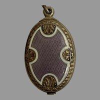 Antique Large  sterling Silver guilloche enamel double mirror pendant