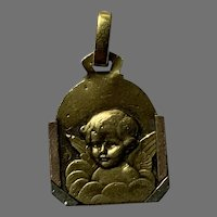 Antique Art Deco  gold fill  Cherub Angel medal charm