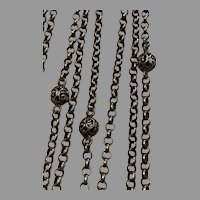 Antique French filigree ball 800-900 silver 55 inch guard chain for Muff or Lorgnette