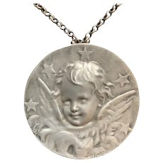 Antique French Very large 1,97 inches Angel Cherub Star  Silver pendant by Kinsburger