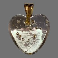 Vintage 18 K gold Murano glass heart with gold pearls pendant