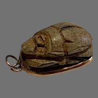 Vintage Egyptian Pottery Scarab 14 K gold Charm Pendant