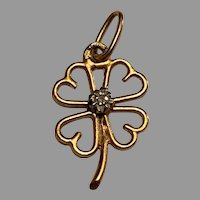 Antique French 18 K gold diamond Lucky Four Leaf Clover charm