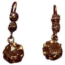 Antique French 18 K gold Rose  cut Diamond Drop Earrings