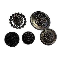 5  vintage  Chanel buttons enamel / lion