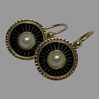 Antique French enamel 18 K gold natural pearl drop Earrings Dormeuses