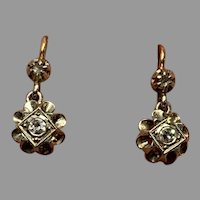 French Antique 18 K Gold and diamonds moving drop earrings dormeuses