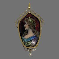 Antique large French Limoges Enamel lady 18 K gold  Pendant