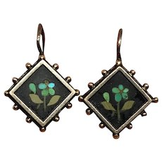 Antique Pietra Dura Mosaic Pansy earrings silver and gold