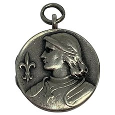 Antique French Joan of Arc 800-900 silver locket