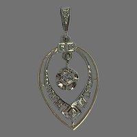 Antique French 18 K gold Diamond  drop Pendant