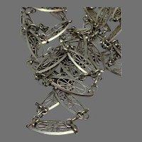 Antique French 800-900 silver filigree muff Guard Chain Sautoir