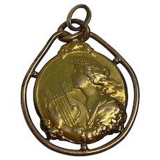 Antique French Art Nouveau Lady Gold Filled FIX pendant